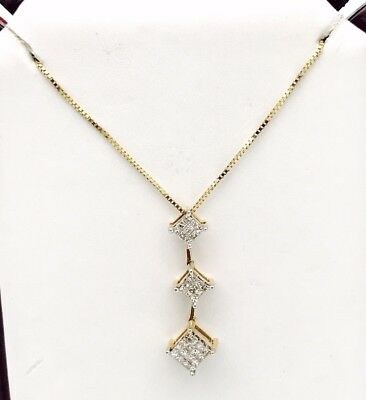 14k Yellow Good 0.35CT Invisible Set Princes Cut Diamond Chain Pendent Necklace