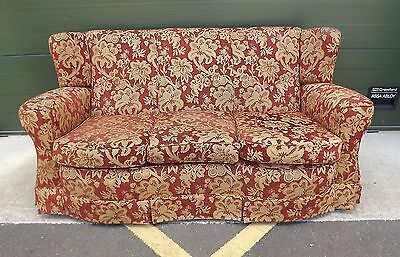 Antique Edwardian Serpentine-Fronted Wng-Back Three-Seater Sofa Settee