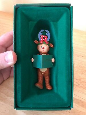 """Vintage 1986 """"R"""" is for Reindeer Christmas Ornament Mary Engelbreit With Box"""