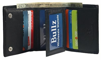 Mens Black Solid Cow Leather Tri-Fold Casual Dress Heavy Duty Wallet Center Flap