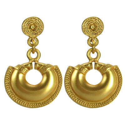 ACROSS THE PUDDLE 24k GP Pre-Columbian Small Quimbaya Nose Ring Dangle Earrings