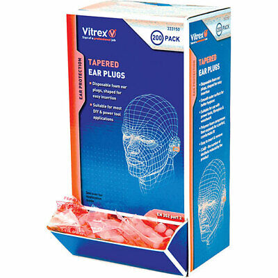 Vitrex Tapered Disposable Ear Plugs Pack of 100