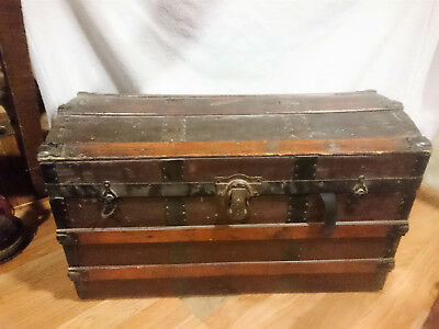 Brown Wooden Antique Vintage Large  Storage Steamer Chest / Trunk REDUCED PRICE