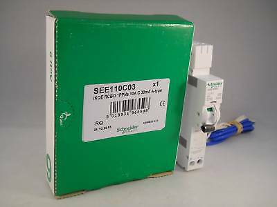 Schneider RCBO 10 Amp 30Ma Type C 10A C10 IKQE KQE Acti9 Square D SEE110C03 NEW