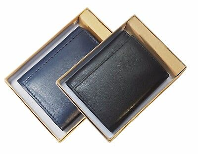 Heavy Duty Mens Trifold Wallet Leather Center Flap ID-Credit Card Holder In Box