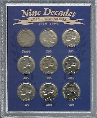 United States - 9 Decades Of American Nickels Housed In Presentation Case