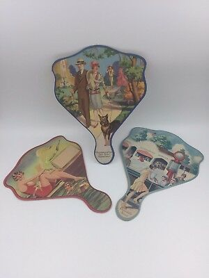 Antique Lithographed Advertising Paper Hand Fans w/ Idyllic Pretty People Scenes