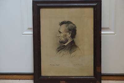 1892 President Abraham Lincoln Etching Signed T. Johnson