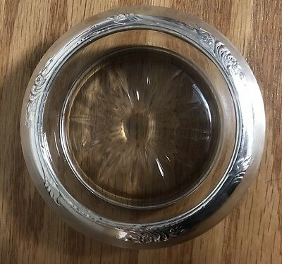 Vintage Frank Whiting Sterling Silver Rim Pressed Glass Wine Coaster Replacement