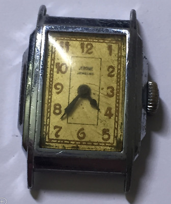 Vintage Jerome Jeweled Men's Watch Art Deco Case Chrome USA Parts/Repair