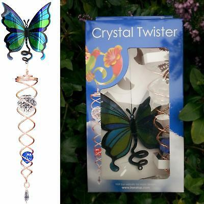 Blue Butterfly Crystal Twister Wind Spinner Iron Stop Garden Sun Catcher Hook