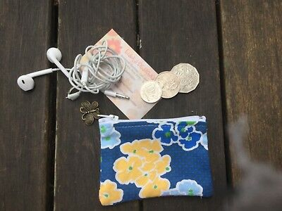 Vintage Look Flower  Ladies Australian Handmade Coin purse , Card Holder 9x7cm