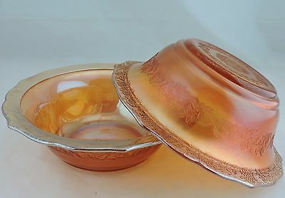 Vintage Marigold Carnival Glass Berry/salad Bowl Pair Iridescent Flower Garland