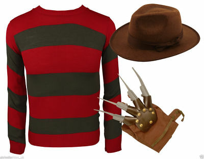 Mens Freddy Krueger Style Red & Green Stripe Knitted Jumper Hat & Glove Costume