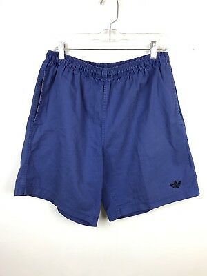 Vintage 90s Adidas Faded Blue Cotton Shorts Elastic Waist Sporty Grunge Medium