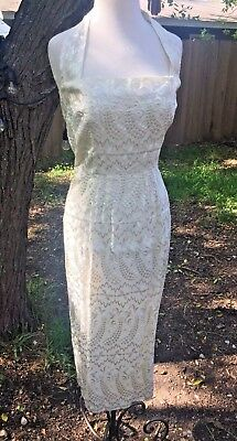 VINTAGE FINESSE 1940's Embroidered PEACOCK wiggle formal Wedding Dress- M/L