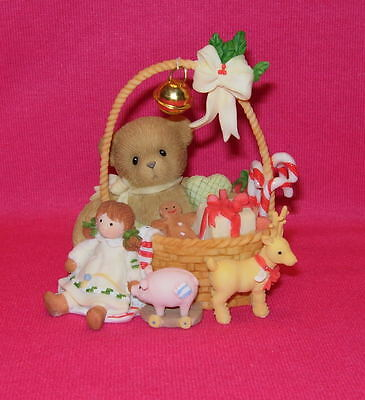 Cherished Teddies MILA Gather Holiday Cheer Girl in Christmas basket