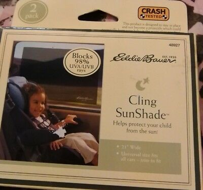 """Eddie Bauer Child Auto Cling SunShade 21"""" wide, Model #48927 2010, Pack of 2"""