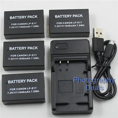 Replacement For LP-E17 Battery + USB Charger For Canon EOS 750D 760D M3 Camera