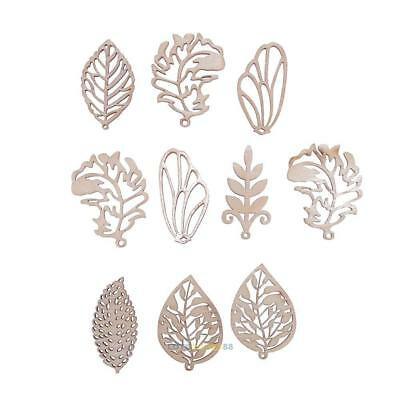 10pcs Wood Chips Mixed Leaves Home Decor DIY Handmade Carve Craft Accessories