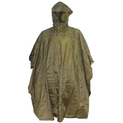 Olive Adventure Hooded Poncho - Green Waterproof Ripstop New Highlander