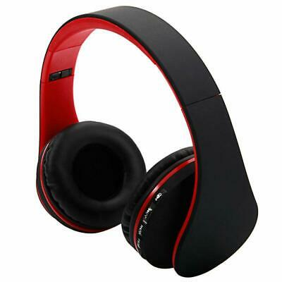 Bluetooth Wireless Headset Stereo Headphone Foldable Microphone Black& & Red