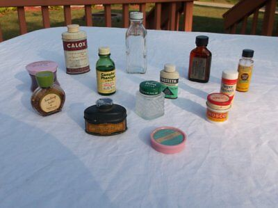Vintage Lot Of 13 Medicine Cabinet Home Items Merthiolate Calox Mosco Hires More