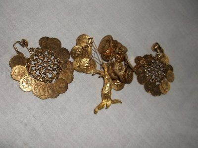 Rare Vintage Brooch And Clip Earring Set Faux Gold Tree Shield Greek Roman Coins