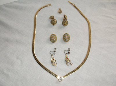 Russian Cloissone 18 Karat Electroplated Hand Painted Earrings And Necklace Set