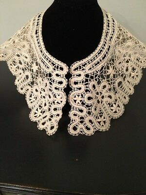 Famous VTG Women's Collar Bobbin Lace Pure Linen Hand made from Russia(USSR)