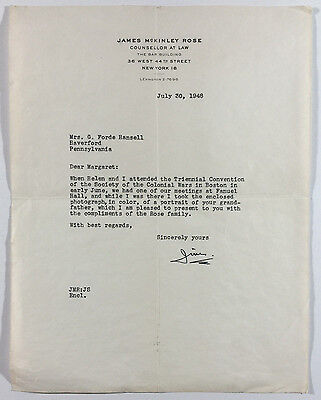 VTG Letterhead, James McKinley Rose, Counsellor At Law, The Bar Building NY 1948