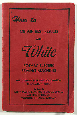 White Rotary Electric Sewing Machines Vintage Manual Guide Booklet Cleveland OH