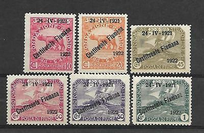 Fiume Stamp #162-168 Short Set (Used) From 1922