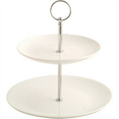 White Porcelain 2 Tier Cake Stand - Dema Designs Two Gift Box Dessert Pastry