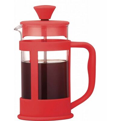 Red Soft Touch 3 Cup Glass Cafetiere - Grunwerg Colours Coffee Maker Ole