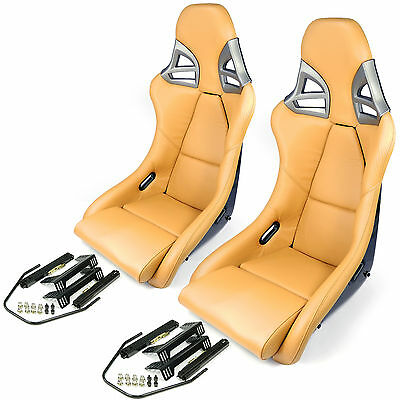 2 Carbon sports-seats in 997-gt3-look Leather Beige + Mounting Kit