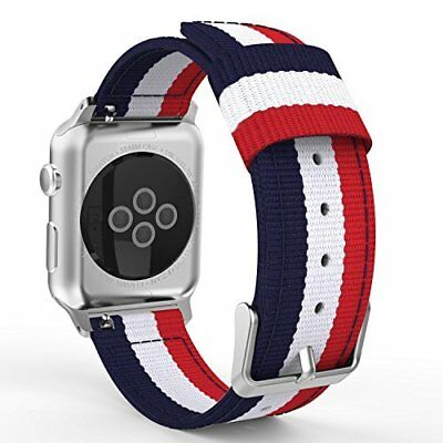 Apple Watch 3/2/1 38mm Woven Nylon Adjustable Replacement Band-Blue&White&Red