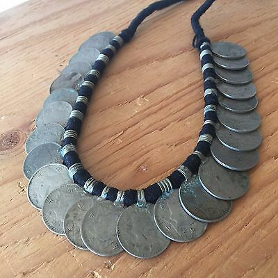 Old Vintage Antique Nepalese Rare Coin Necklace Tribal Ethnic Nepal Gypsy UN440