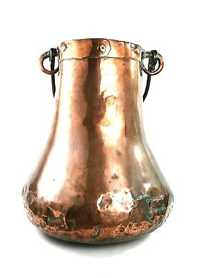 Antique 19th C. Large Cooking Pot Pear Shaped Stick Umbrella Stand Swing Handle