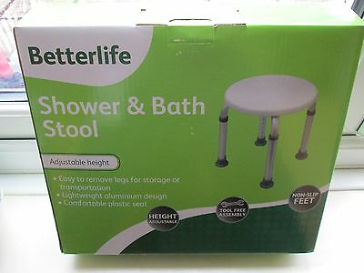 BETTERLIFE SHOWER AND BATH STOOL -FOR Bath + SHOWER ASSISTANCE -NEW + BOXED