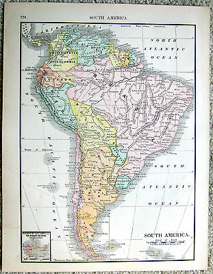 Original 1886 Rand McNally Map of South America b/w Central America