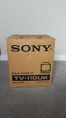Vintage Television with Original Box. 1960s Sony B & W Portable. Working