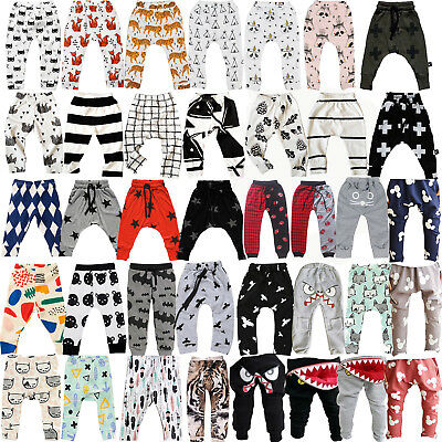 Newborn Kids Baby Boys Girls Casual Elastic Harem Pants Toddler Trousers Clothes