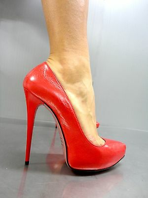 Mori Italy Platform High Sexy Heels Pumps Schuhe Shoes Real Leather Red Rosso 41