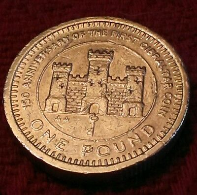 *RARE* 1989 150th Anniversary of First Gibraltar Coin £1 one pound Castle & Keys