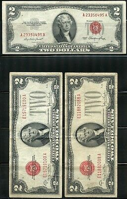 United States Lot Of 5 1928 Series & 2 1953 Series Us $2 Note Red Seals