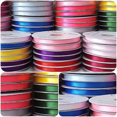 20% OFF!!  FULL REEL Double Sided Satin Ribbon 10mm X 50 Metres SEWING CRAFTS