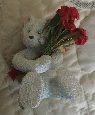 Teddy Bear angel Valentine roses figurine
