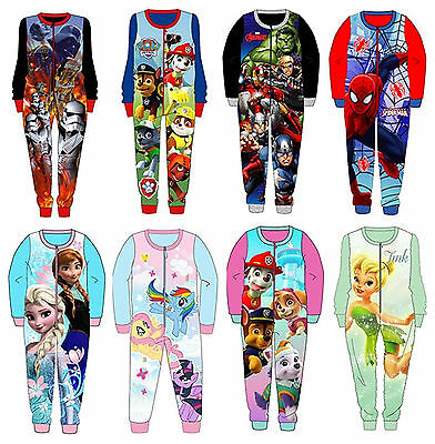 Boys Girls Kids Official Character Fleece All In One Bodysuit Pyjamas