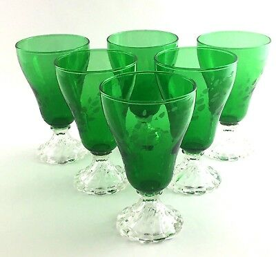 Six Anchor Hocking Water Goblets Forest Green Etched Leaf 1950's Swirl Foot